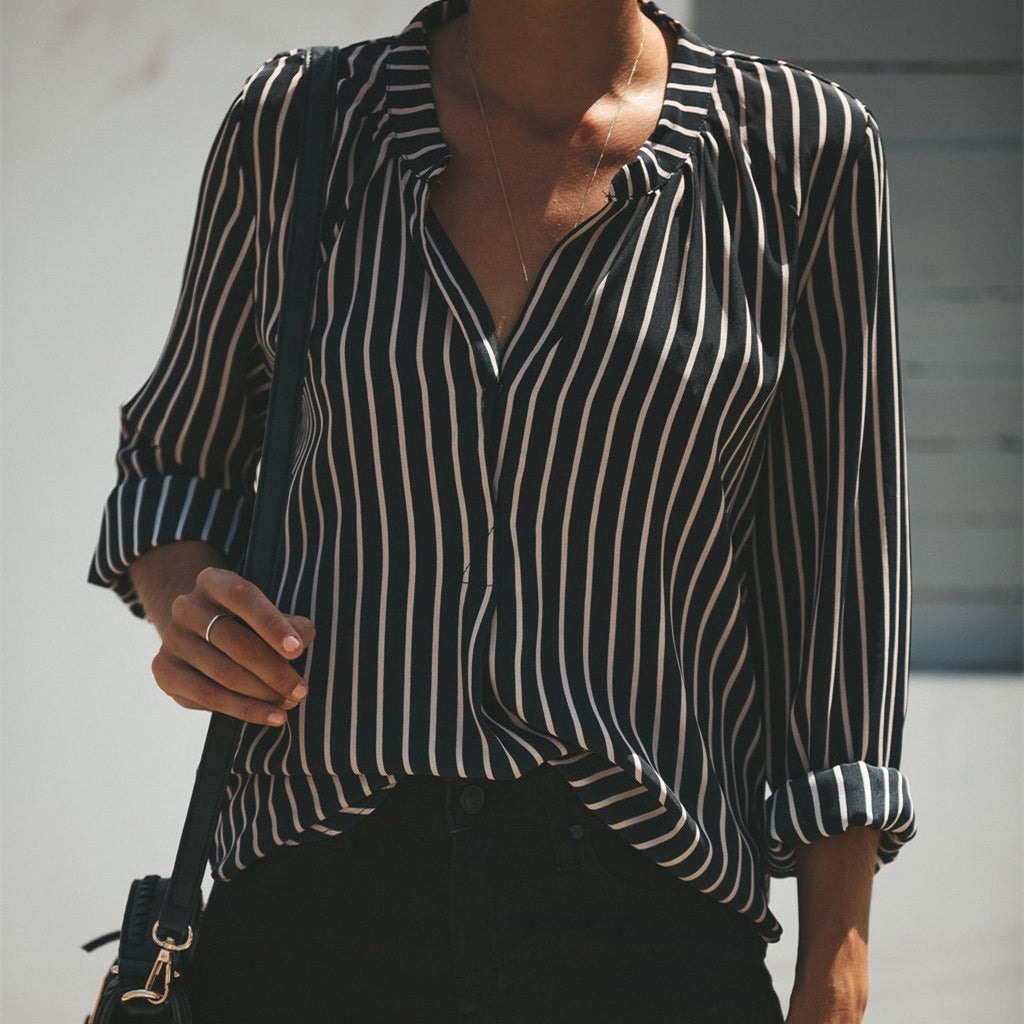Loose Black Striped Blouse Women