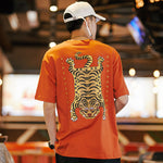 Chinese Letter Print Cotton Tiger Tee Harajuku