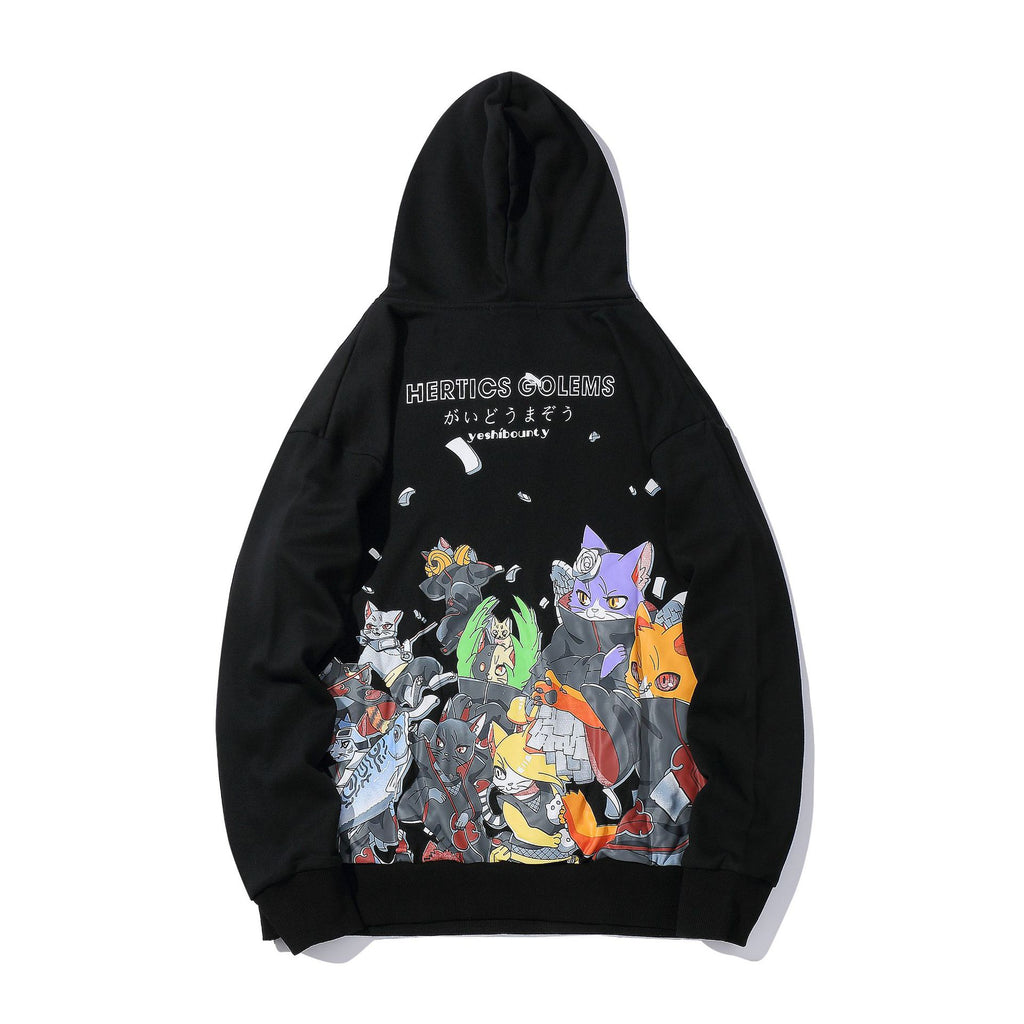 Men's Funny Embroidered Japanese Naruto Cats Print Hoodies