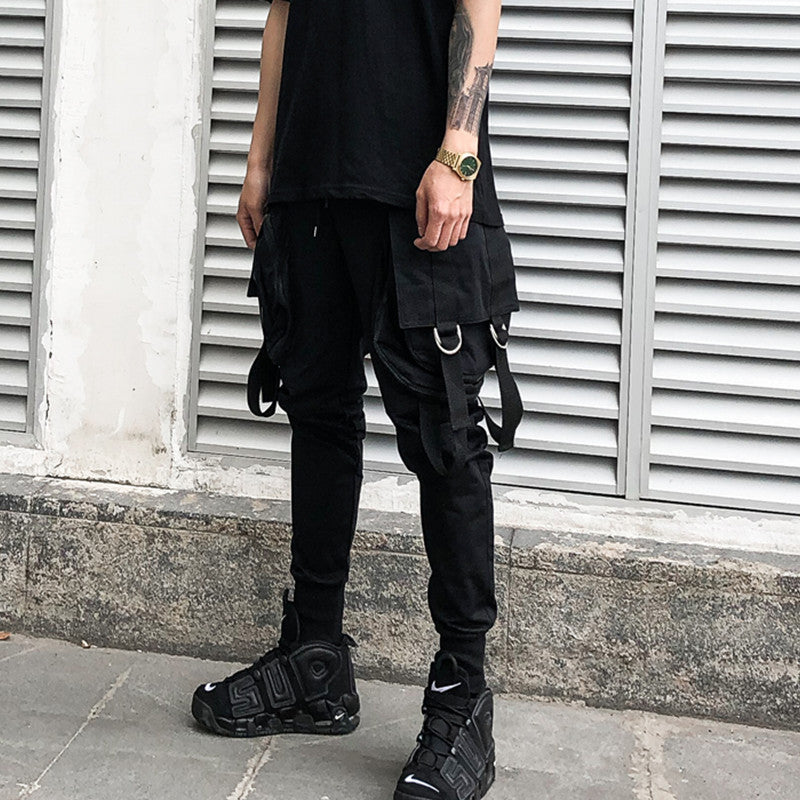 Hip Hop Streetwear Punk Black Trousers