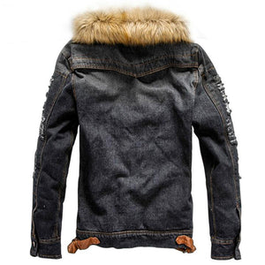 Vintage Fur Collar Denim Jacket