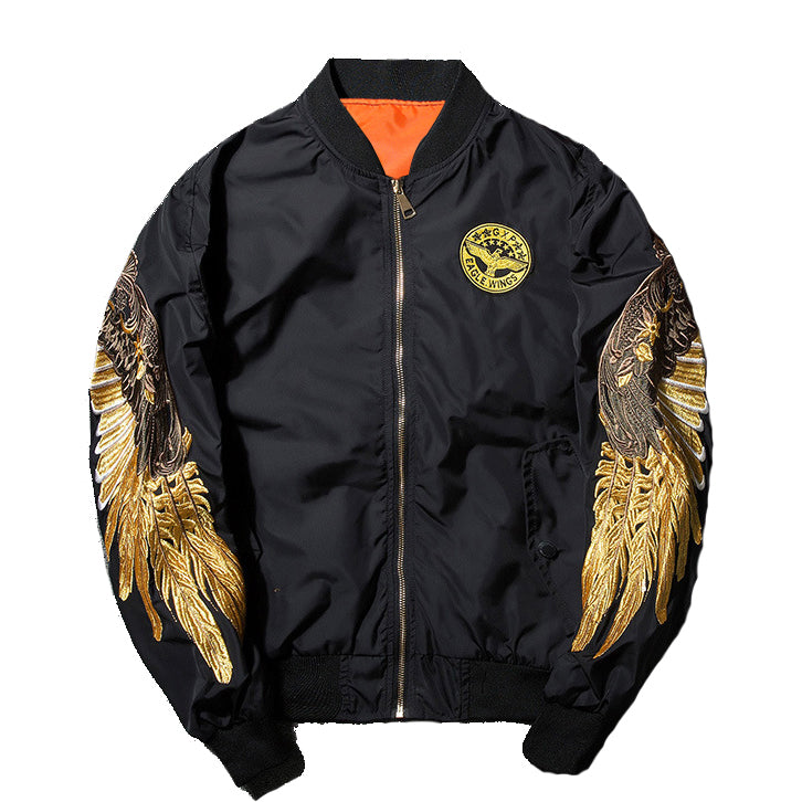 Black Angel Wing Bomber Jacket