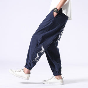 Embroidered Crane Cotton Linen Harem Pants