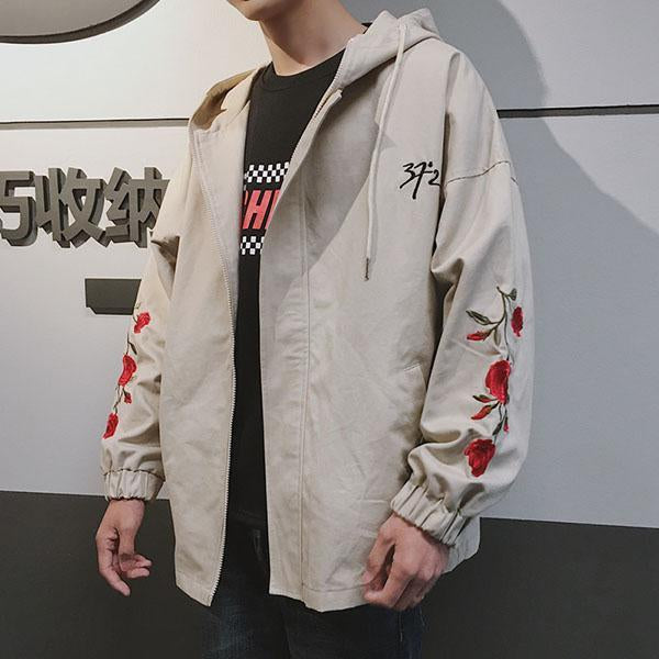 Flower Embroidery Hooded Jacket