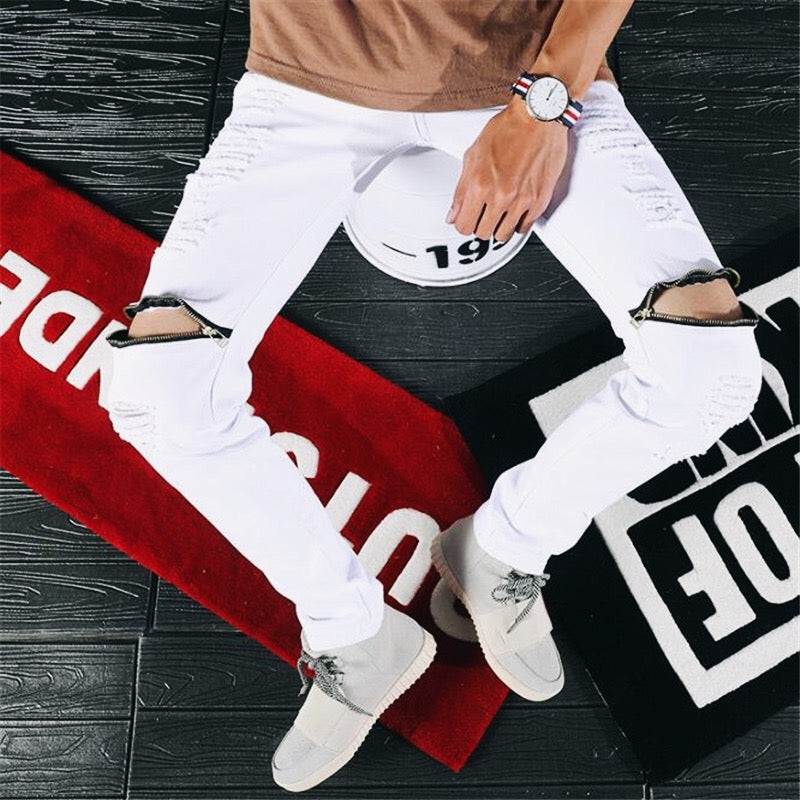 Knee Zipper Design Skinny Jeans