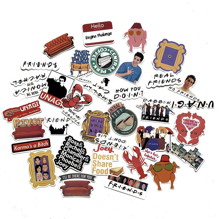 Friends Graffiti Stickers 34pcs
