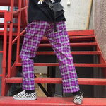 Harajuku Loose Retro Plaid Trousers
