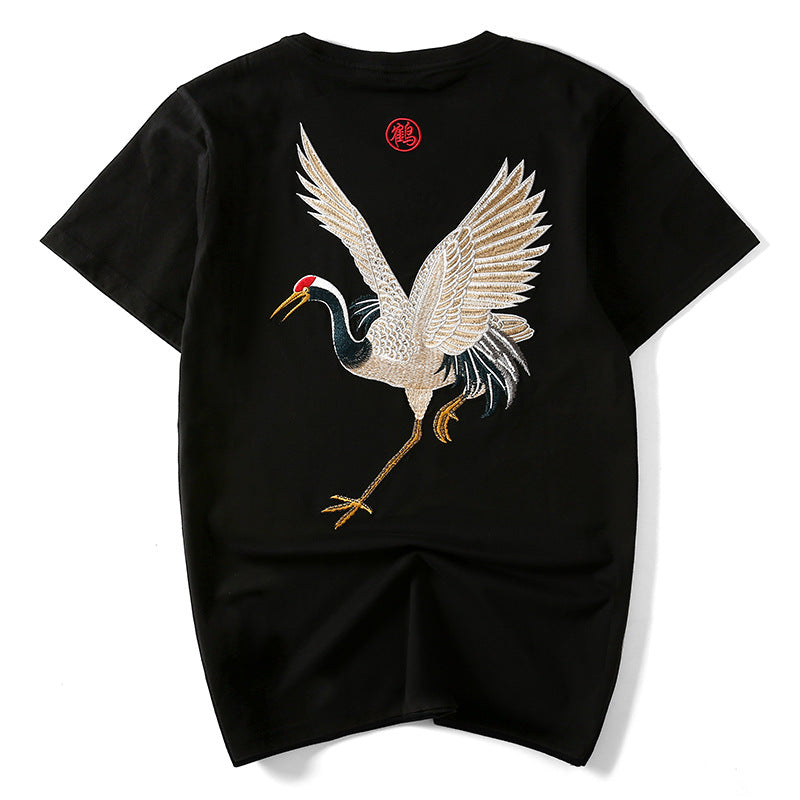 Crane Embroidery Short-sleeved T-shirt