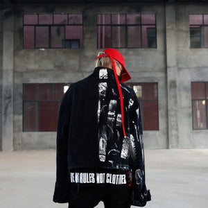 Designer Irregular Hand Painted Ripped Denim Jacket