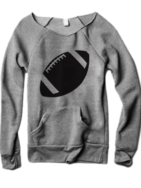 Football Long Sleeve Sweater With Pocketed