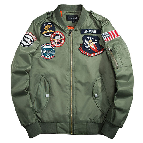 Bee Embroidery Thin Pilot Jacket