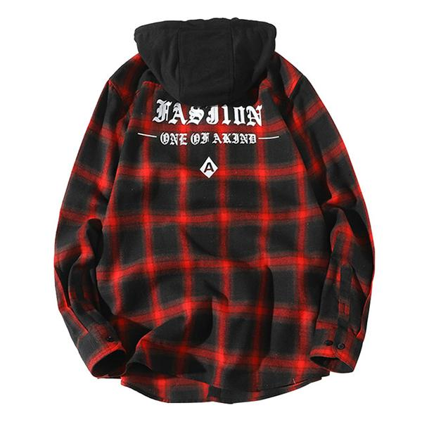 Plaid Hooded Letter Shirts