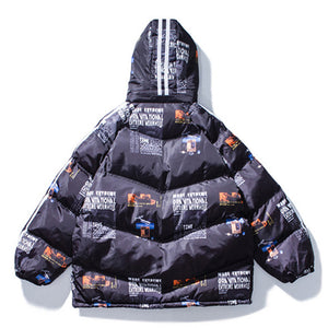 Printed Oversize Hooded Coat