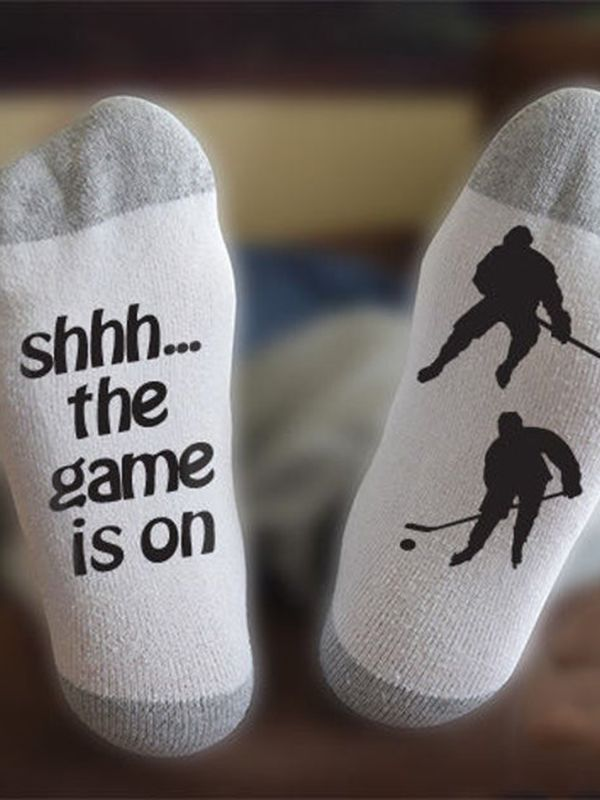 Shhh... The Game Is On Hockey Socks