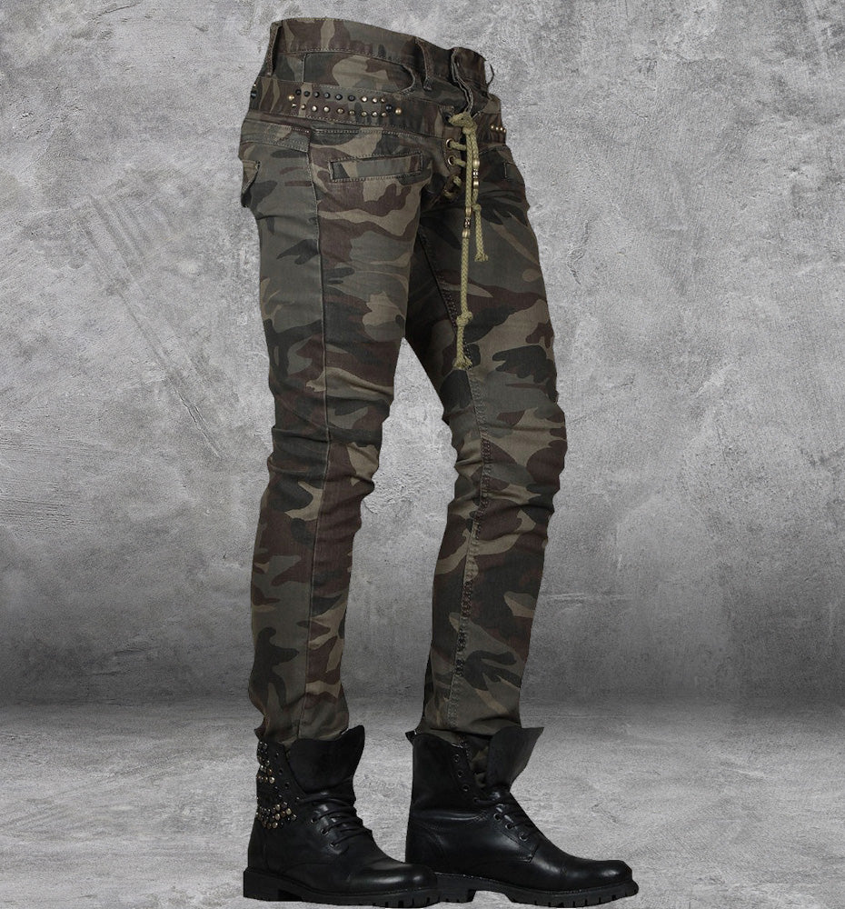 Men's Double Camo Lace-up Jeans