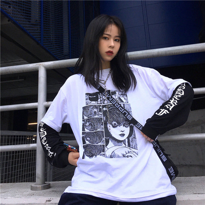 Horror Comic Print Fake 2 Piece T-shirt
