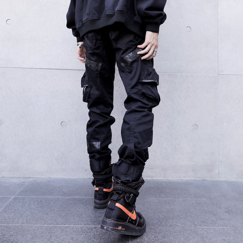 Leather Pocket Splice Casual Cargo Pant