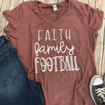 Faith Family Football Game Day Shirts