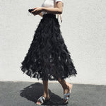 Chiffon Feather Tassel Skirt