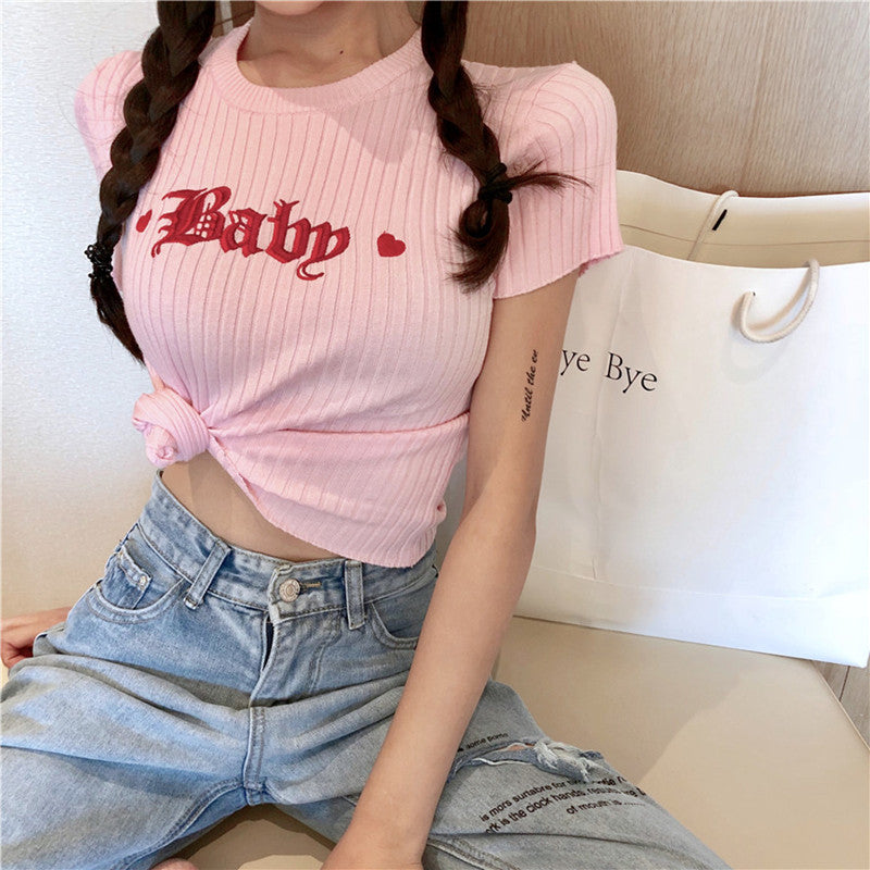 Baby Heart Embroidery T-shirt