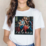 Friends Funny Oil Painting Print T-shirt
