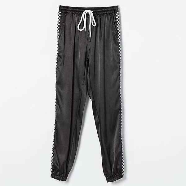 Drawstring High Waist Checkboard Patchwork Pants