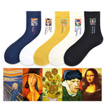 Oil Painting Van Gogh Sunflower Mona Lisa Socks Female Retro Art Abstract Funny Socks
