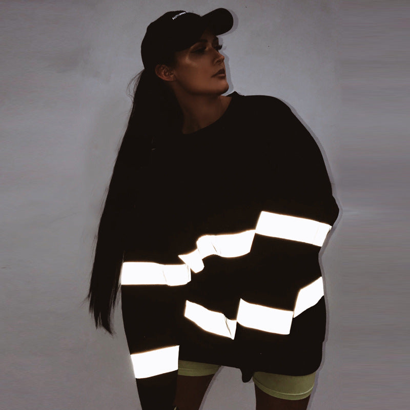 Reflective Hip Hop Fleece Black Oversized Sweatshirt