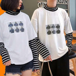 Character Letter Print Stripe Patchwork Long Sleeve T Shirt