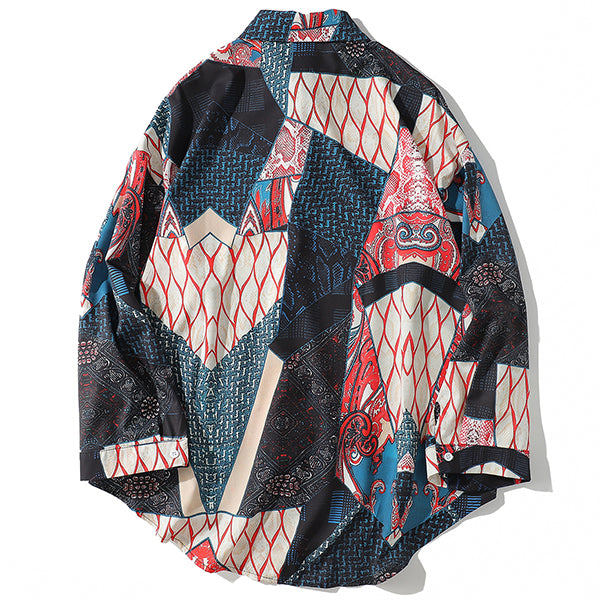 Japanese Ukiyo Geometric Patchwork Long Sleeve Shirts