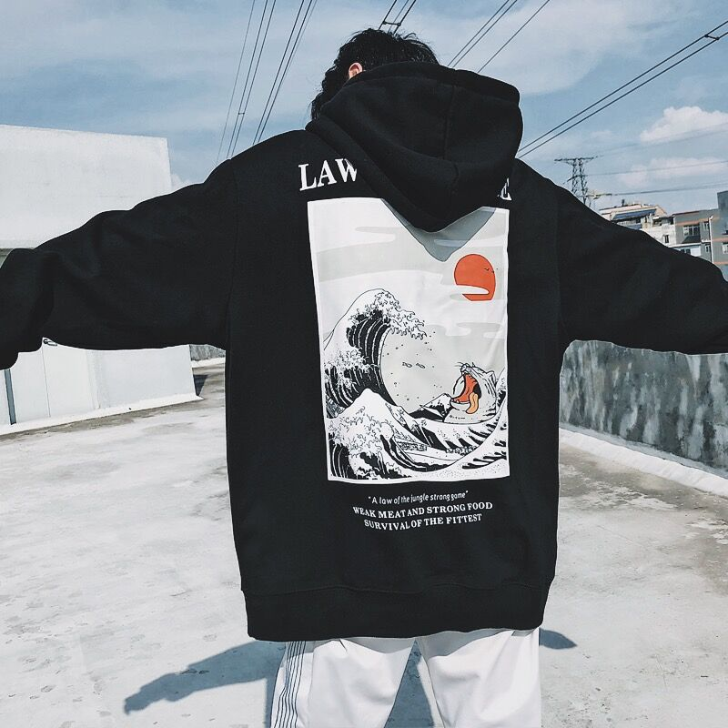 Japanese Embroidery Cat-Wave Printed Hoodies