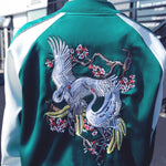 Spliced Embroidery Dragon/Bird Zipper Coat
