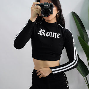 Turtleneck Letter Printed Long Sleeve