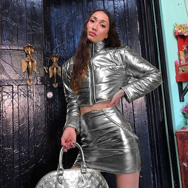 Silver Turtleneck Jacket Suit