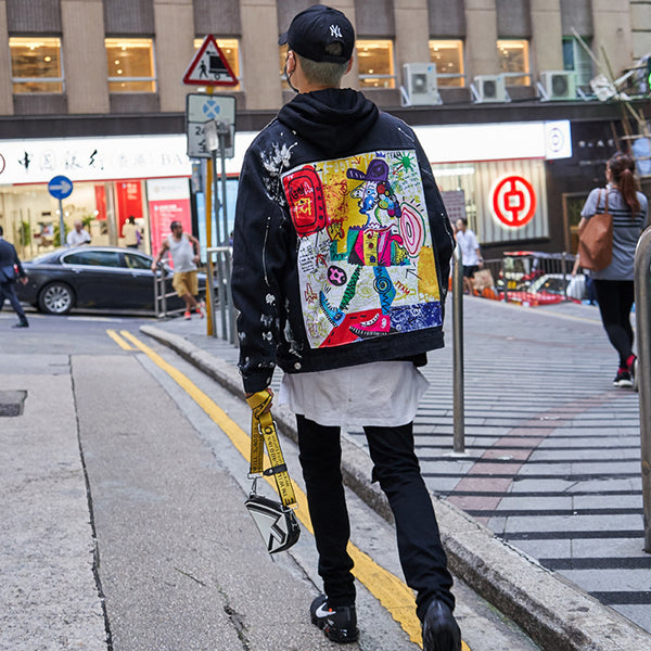 Hip Hop Graffiti Cartoon Ripped Denim Jackets