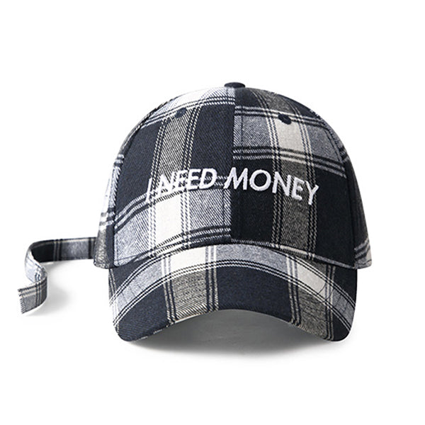 Plaid Letter Embroidery Adjustable Hip Hop Hats