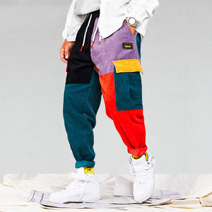Corduroy Patchwork Pockets Cargo Pants