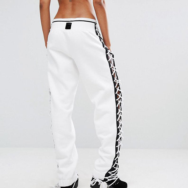 SIDE STRIPED LACE UP PANTS