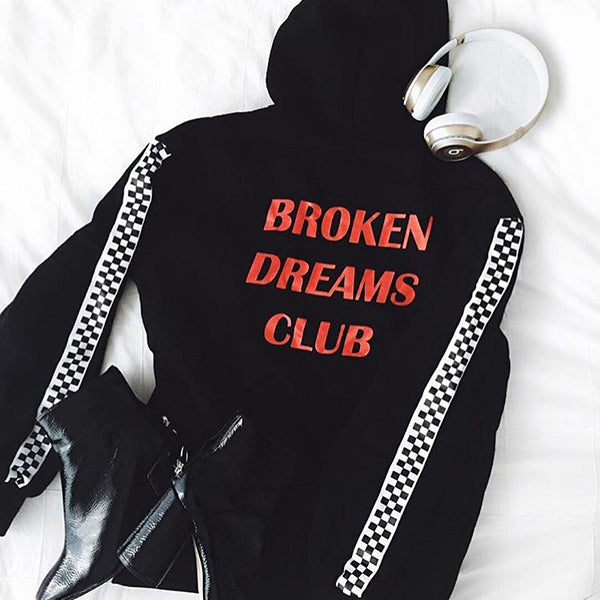 Checkerboard Pattern Sleeve Broken Hoodies