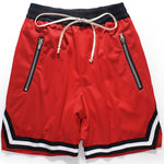 Striped Zipped Pockets Basketball Shorts