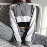 Cropped Turtleneck Patchwork Sweatshirt