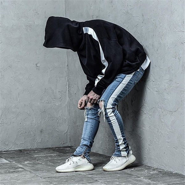 Side Stripe Patchwork Ripped Jeans