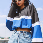Striped Patchwork Drawstring Short Crop Tops
