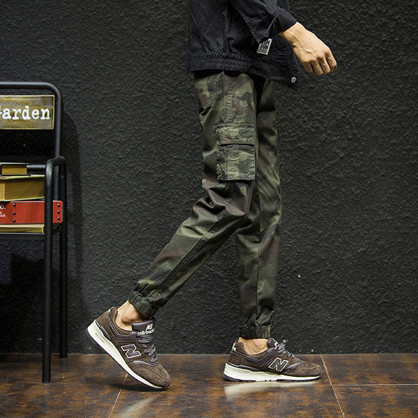 Drawstring Waist Flap Pockets Camo Jogger Pants