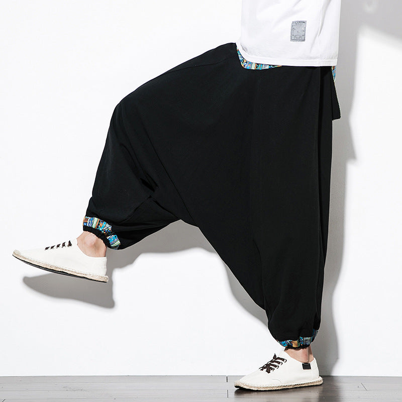 Chinese Style Loose Cross-Pants