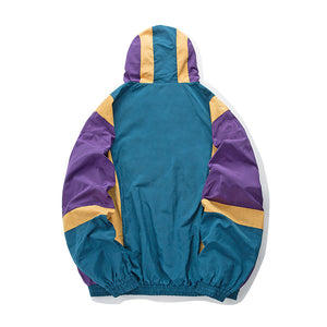 Vintage Color Block Hooded Jacket