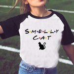 SMELLY CAT Letter Printed T-shirt