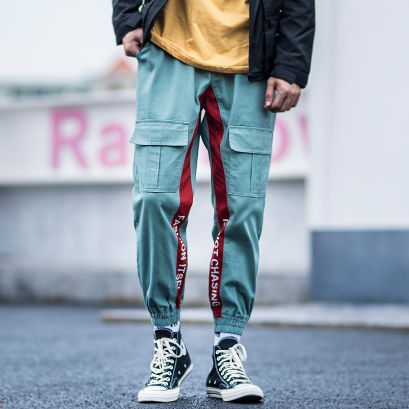 Side Striped Letter Print Cargo Pants