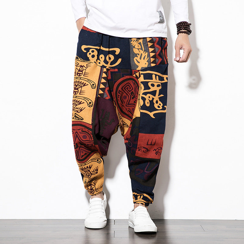 Mens Baggy Cotton Linen Print Harem Pants