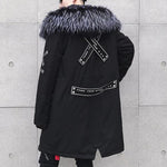 Hip Hop Ribbon Patchwork Fur Collar Parka